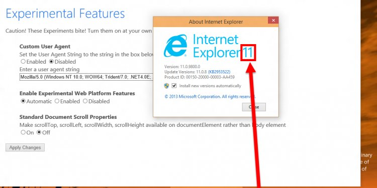 Internet Explorer 12 - change