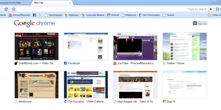 New Tab page