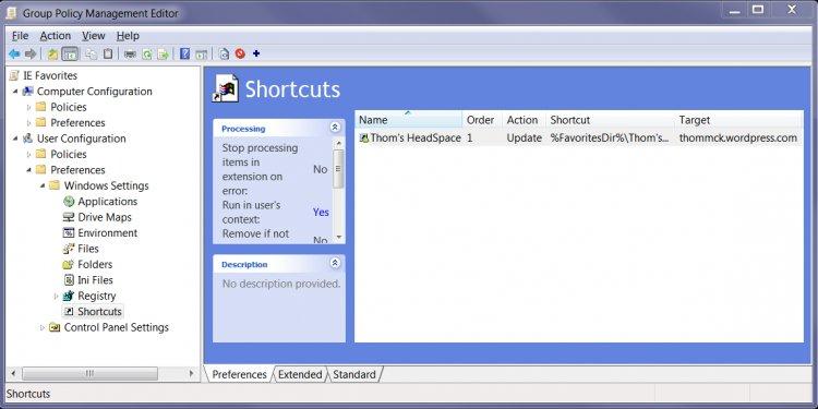 Screenshot - Shortcuts in the
