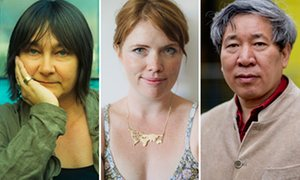 A composite of three authors: (remaining) Ali Smith, (center) Clementine Ford, (right) Yan Lianke