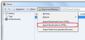 Exporting HTML Bookmarks - Win fx7