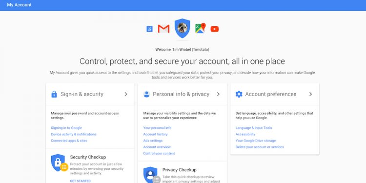Google account settings